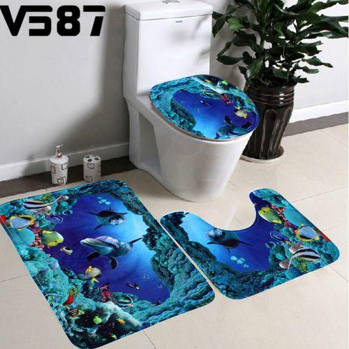 3Pcs/Set Bathroom Non-Slip Blue Sea Ocean Pedestal Rug+Lid Toilet Cover+Bath