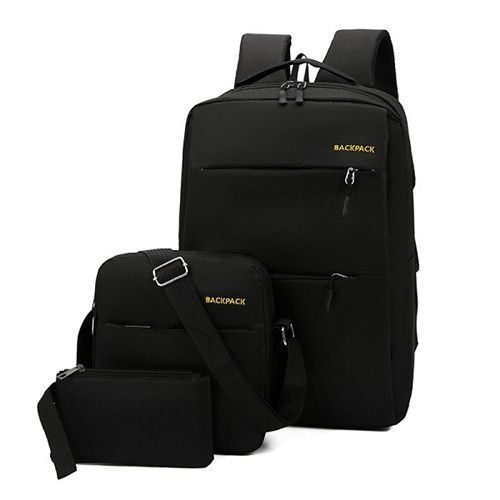 Anti Theft Laptop Bag USB Interface Backpack Durable Black