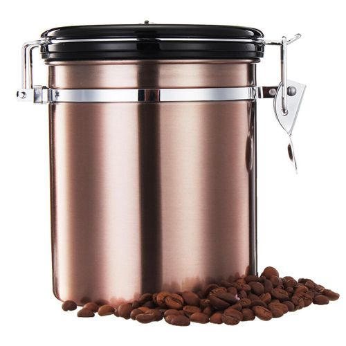 1.5L Stainless Steel Coffee Bean Storage Container Canister CO2 Valve Free Scoop
