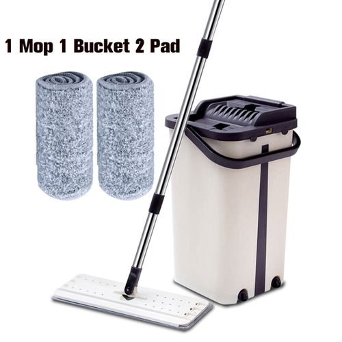 Stainless Steel Flat Squeeze Mop With Bucket Floor Dust Cleaning Microfiber Mops