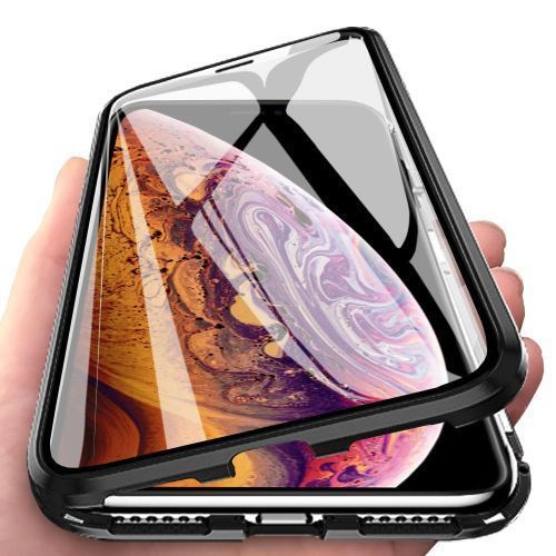 IPhone XS Max Case, 360° Full Body Tempered Glass With Magnetic Metal Bumper Case Cover For IPhone XS Max