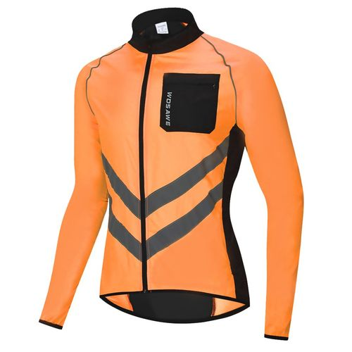 BL218-O Cycling Running Ultra Light Reflective Waterproof Jacket Windbreaker-Orange-