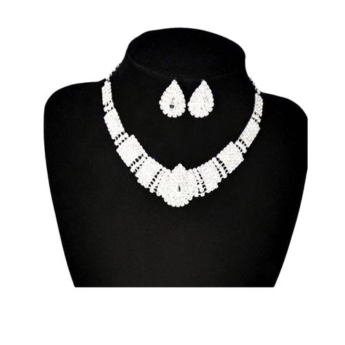 Bridal Rhinestone Necklace + Earrings - Silver (Black Stone)