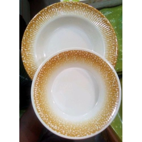 6 Set Unbreakable Soup Bowl And Flat Plate