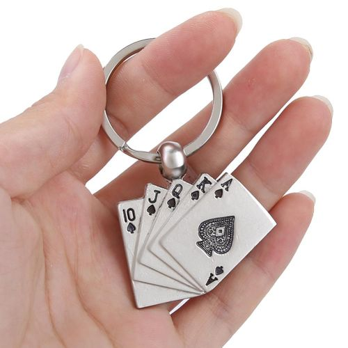 Keychain Of Personality, Charm Gift Of Lucky Royal Poker Playing Card Keychain