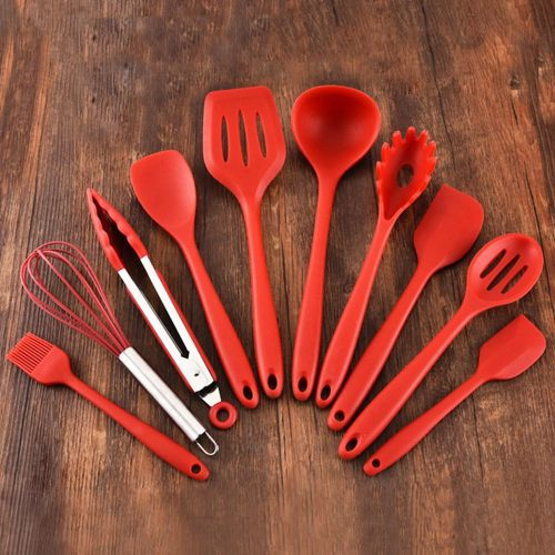 10-piece Set Of Silicone Cookware Red Daily Life Supplies Red
