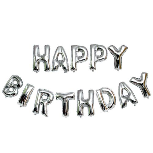Balloons Happy Birthday 16inch -silver