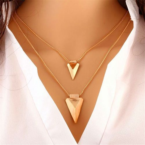 Women's Two-layer Metal Pendant Chain Necklace - Gold Color