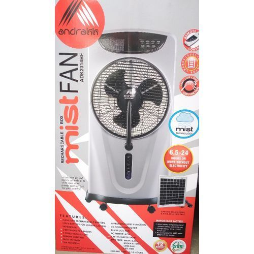 Rechargeable Box Mist Fan With Wheels + Remote + Free USB Cable