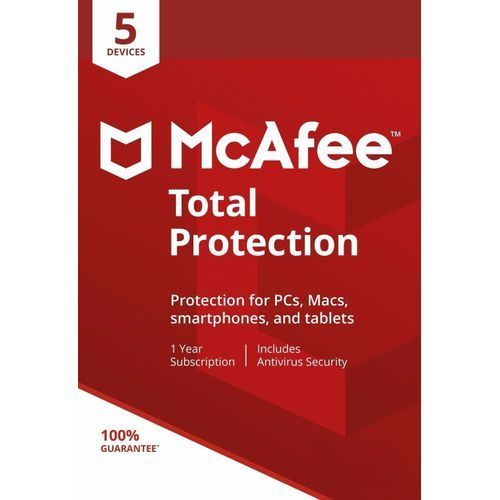 McAfee Total Protection 2019 Antivirus - 5 Devices [PC/Mac Download], 1 Year (Subscription)