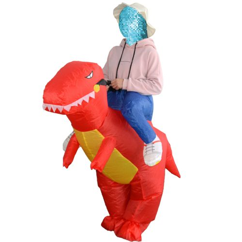 Decdeal Cute Adult Inflatable Dinosaur Costume Suit Air Fan