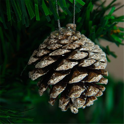 6pcs/ Bag Wooden Whitening Pine Corn Ornament For Christmas Tree Decoration