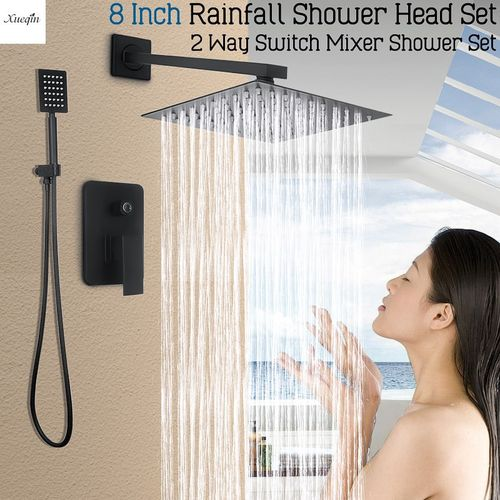 Wall Mounted Rainfall Shower Head Faucet Tap Shower Combo Set