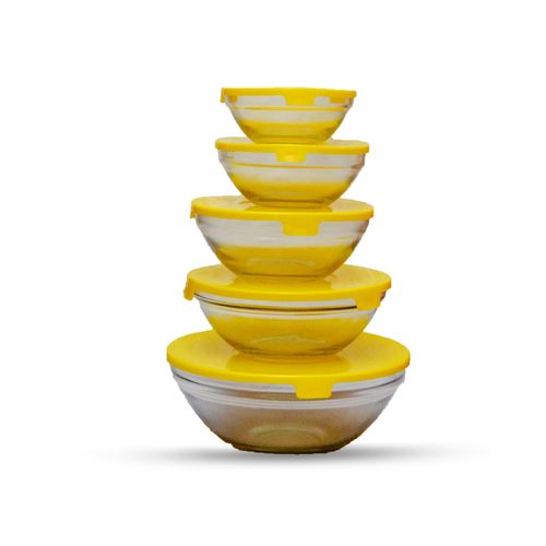 5pcs Microwave Glass Bowl With Lid