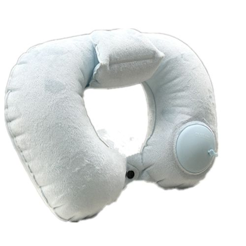 Hand Pressure Inflatable Crystal Velvet Neck Pillow-Light Blue