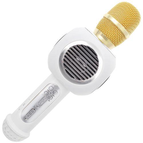 WirelessKaraokeMicrophoneBluetoothSpeakerHandheldSingingMachineLEDLightingM8White