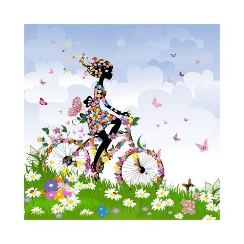 Diy Diamonds Full Of Girl Riding A Bicycle P186 Embroidered
