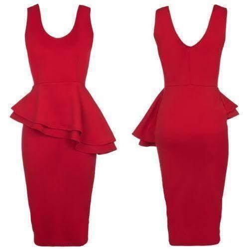 Woodyz Double Drop- Peplum Dress-sleeveless/Red