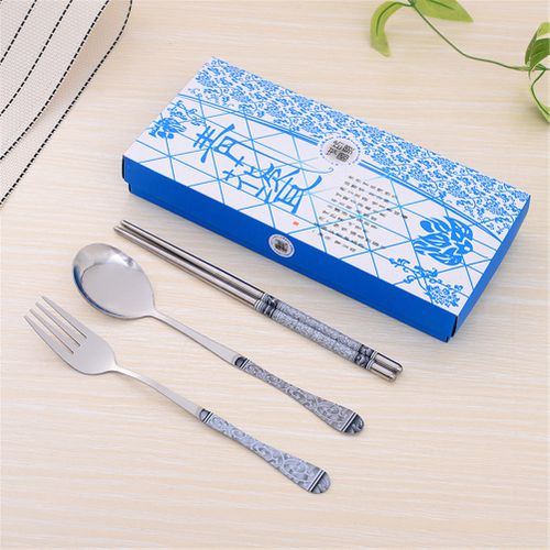3pc/ Set Portable Stainless Steel Tableware Spoon Fork Chopstick Travel Camping