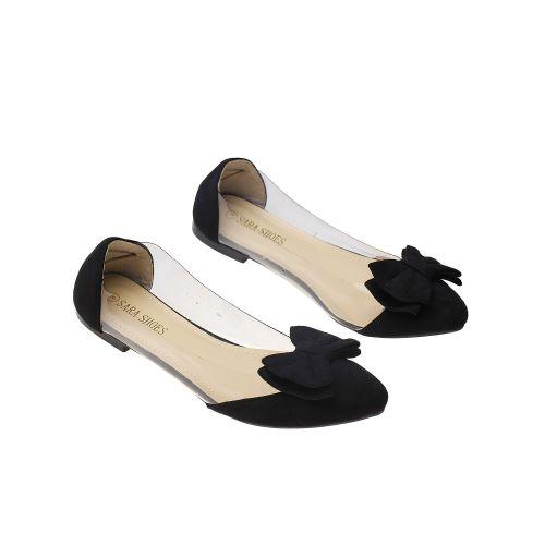 Fancy Transparent Bow Detail Ladies Flat Shoes - Black