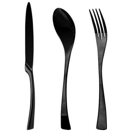 Stainless Steel Dinner Spoons Forks Knife Black Steel