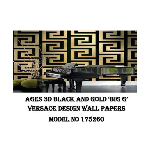 3D PVC Wall Paper Black & Gold V Design