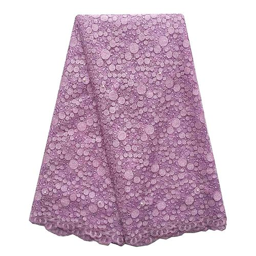 Solid Color French Lace Mesh Material African Fabrics-Lilac