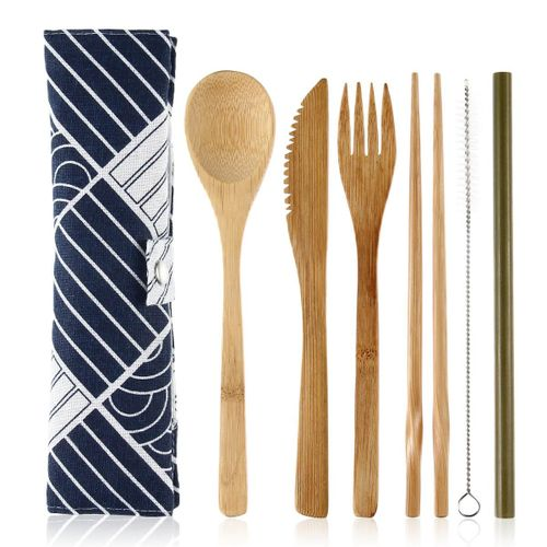 Bamboo Utensils,Reusable Travel Cutlery Portable Flatware For Camping, Picnic, Office, Lunch