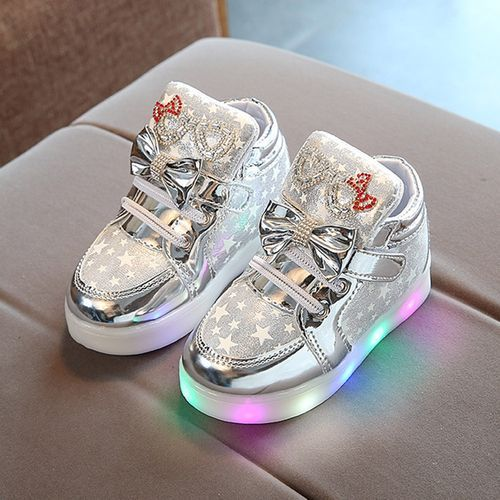 Toddler Baby Fashion Sneakers Star Luminous Child Casual Colorful Light Shoes - Sliver