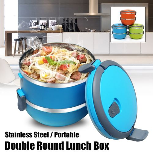 2 Layers Steel Thermal Lunch Box Bento Food Container
