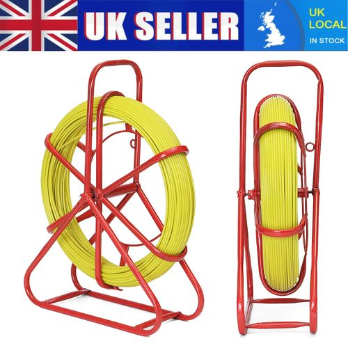 100m Running Rod Duct Puller Fish Tape Fiberglass Cable Electric Reel Wire 5mm