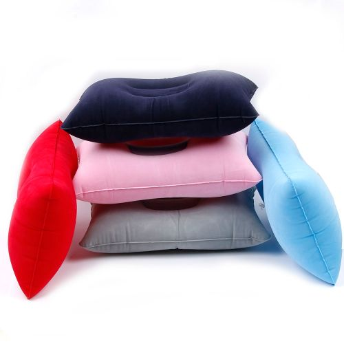1 Pc Inflatable Travel Pillows Camping Flocked Cushions