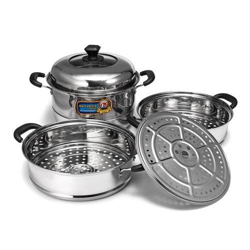 CONCORD Stainless Steel 3 Tier Steamer Steam Pot Cookware Avail In 3 Sizes [26cm]