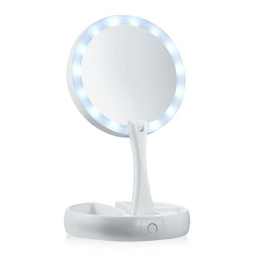 Double-sided LED Makeup Light Desk Mirror Folding