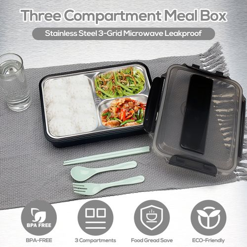 304 Stainless Steel Lunch Box 3-Grid Microwave Leakproof