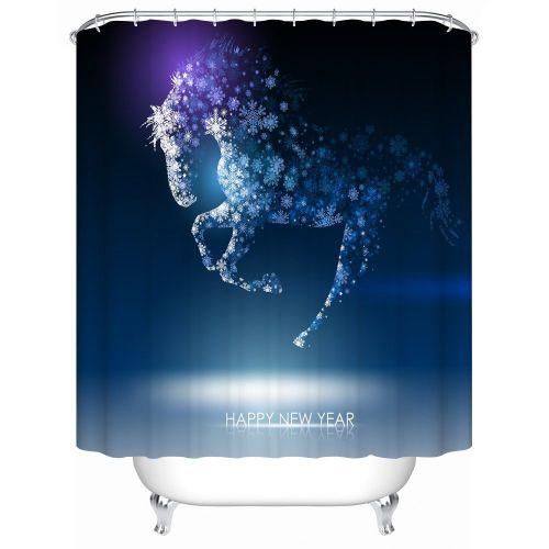 Dtrestocy Custom Merry Christmas Fabric Waterproof Bathroom Shower Curtain 72x 72