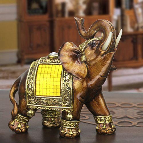 Feng Shui Elegant Elephant Resin Statue Lucky Wealth Figurine Gift & Home Decor #11.5*11cm