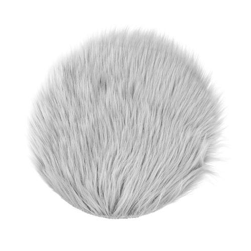 Round 30cm Sheepskin Carpet Faux Mat Fur Plain Fluffy Soft Small Area Rug