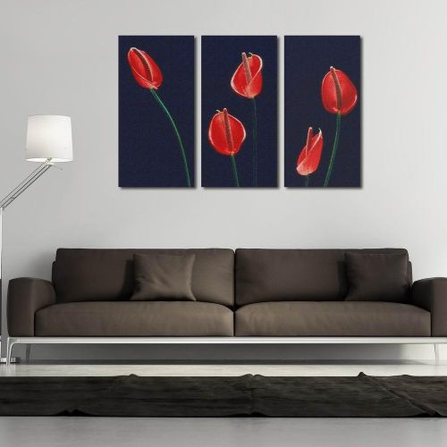 Bedroom Flower Canvas Print Wall Modular Pictures Art Beautiful Printed Paintings Modern 3 Piece Modular Calla Painting Cuadros Pic For Decor And Wall Arts Gift