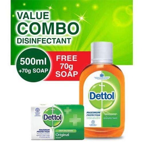 Antiseptic Liquid Disinfectant - 500ml Pack + Free Soap 65g