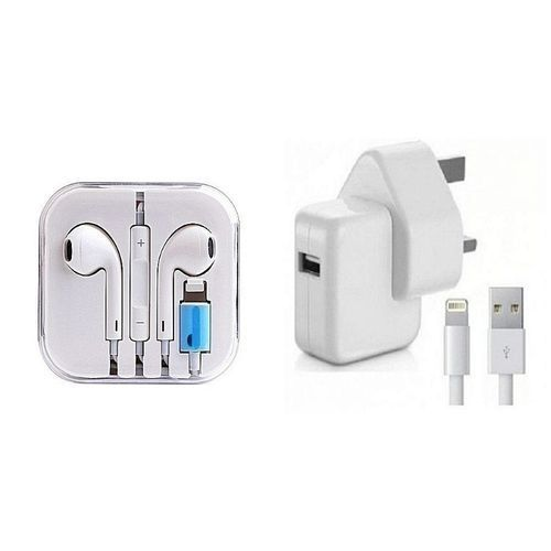 IPhone Charger And Free Iphone 7 Earpiece-white