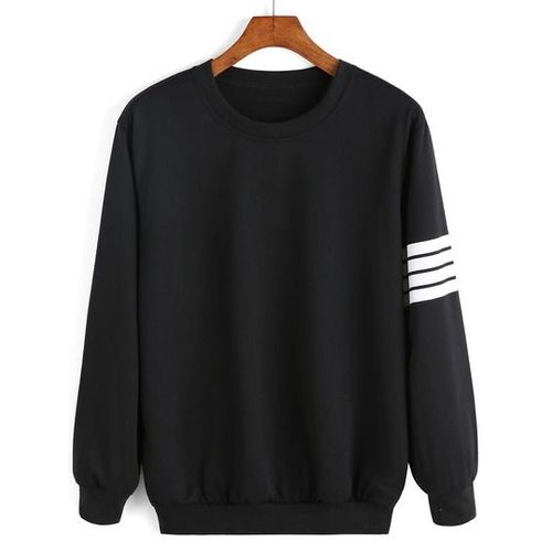 Sequels All Black Sweatshirt With White Stripes