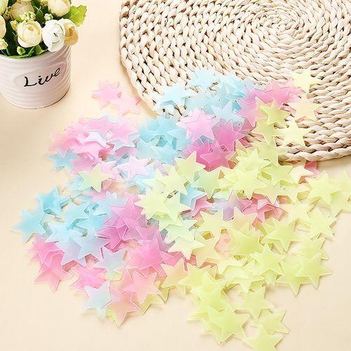100Pcs 3D Stars Fluorescent Plastic Wall Stickers Decorations Mulitcolor
