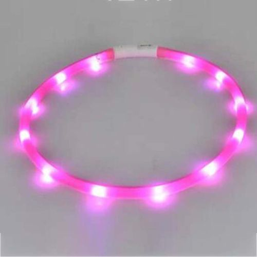 70cm Rechargeable Pet LED Light Flashing Collar Band Dog Safety Belt Pets