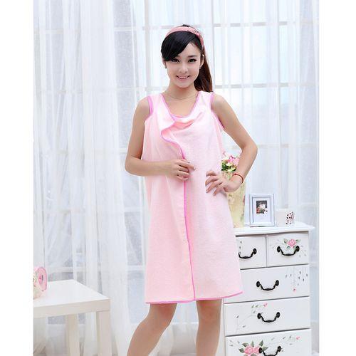 Female Wearable Bath Robe, Wrap Towel--Pink