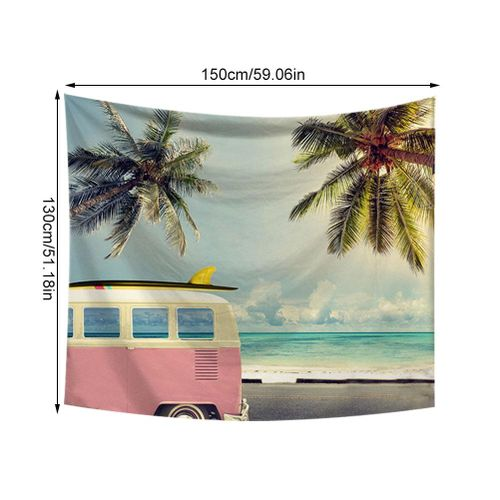 Car And Sea Upholstery Wall Tapestry Art Summer Beach Tapestry Beach Towel Decor For The Bedroom Living Room