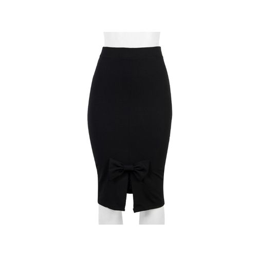 Ladies Pencil Skirt With Bow - Black