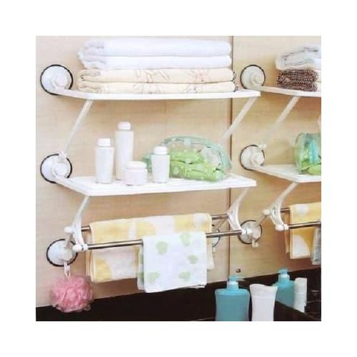 Powerful Suction Cup Kitchen/Bathroom Double Layer Shelf