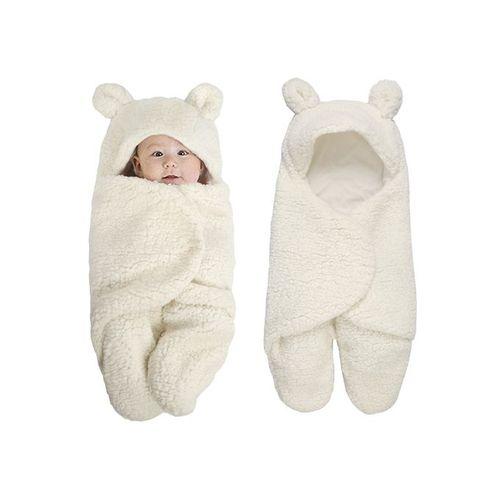 Newborn Baby Swaddle Wrap Soft Sleeping Bag-White Lamb