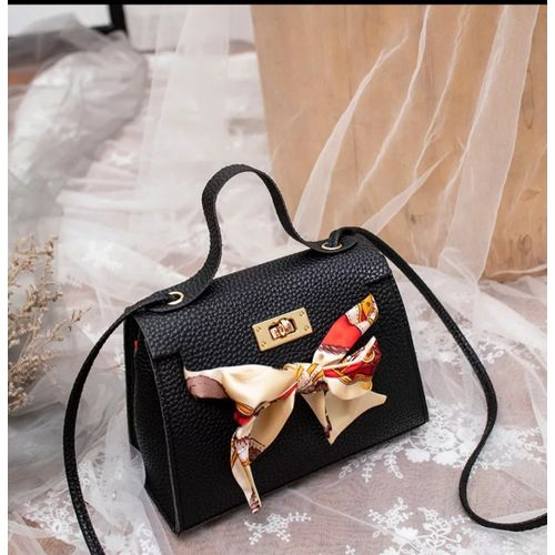 Trendy Ladies Black Square Bag With Scarf